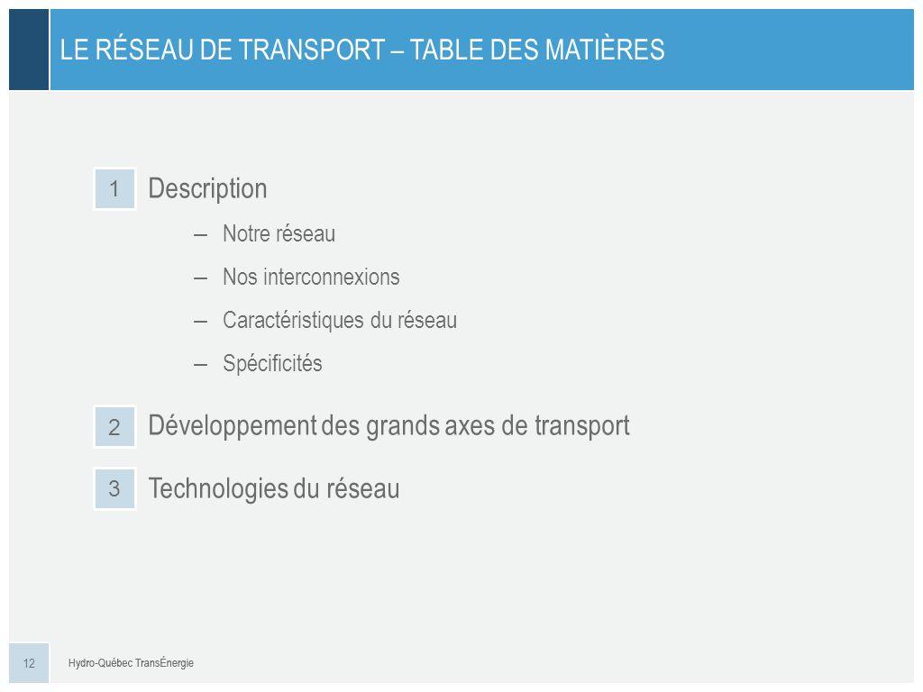 Description – Notre réseau – Nos interconnexions – Caractéristiques du réseau – Spécificités Développement des grands axes de transport Technologies d