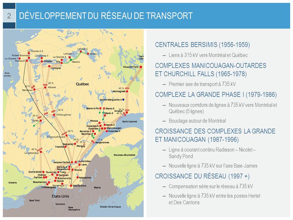 CENTRALES BERSIMIS (1956-1959) Liens à 315 kV vers Montréal et Québec COMPLEXES MANICOUAGAN-OUTARDES ET CHURCHILL FALLS (1965-1978) Premier axe de tra