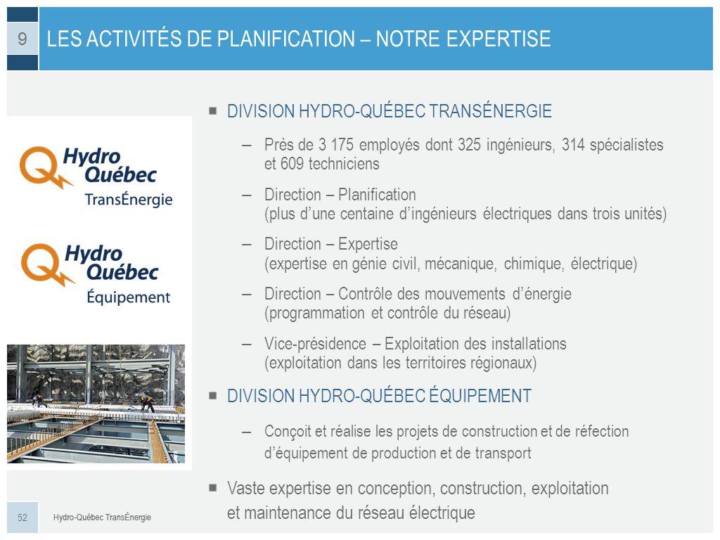 DIVISION HYDRO-QUÉBEC TRANSÉNERGIE – Près de 3 175 employés dont 325 ingénieurs, 314 spécialistes et 609 techniciens – Direction – Planification (plus