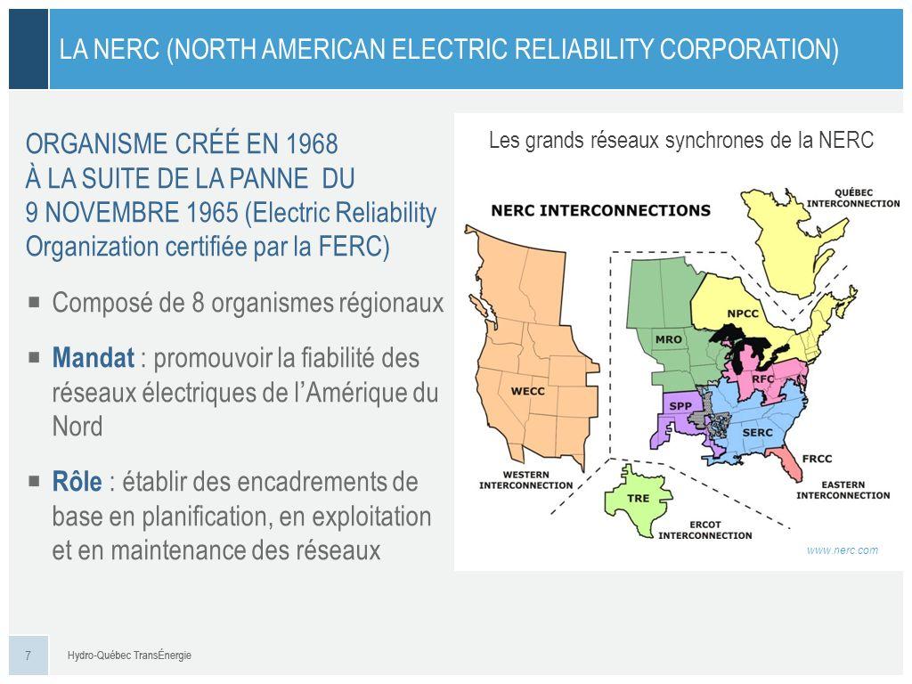 LUN DES 8 ORGANISMES RÉGIONAUX DE FIABILITÉ (Regional Entity) LE NPCC (NORTHEAST POWER COORDINATING COUNCIL) IESO HQT NBSO NSPI ISNE NYIS Zones déquilibrage du NPCC Mandat : promouvoir la fiabilité des réseaux électriques du Nord-est de lAmérique du Nord Rôle : – participer à lélaboration des encadrements de la NERC – élaborer des encadrements régionaux – veiller à lapplication et au respect : de ses encadrements des encadrements de la NERC 8
