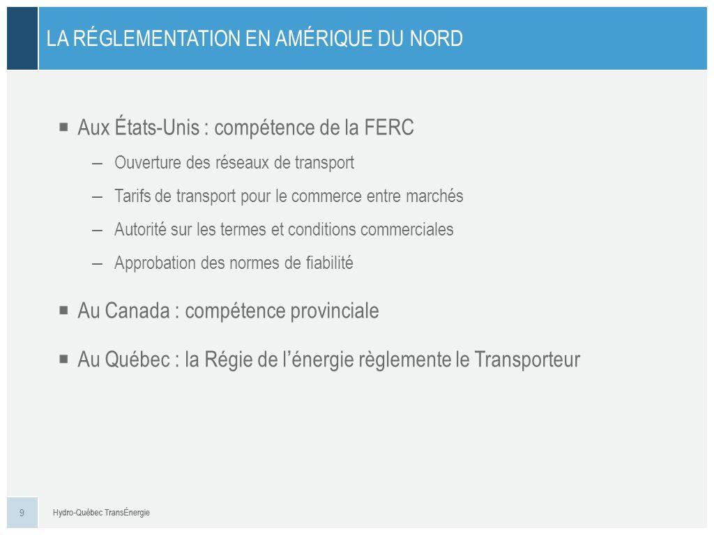 Aux États-Unis : compétence de la FERC – Ouverture des réseaux de transport – Tarifs de transport pour le commerce entre marchés – Autorité sur les te