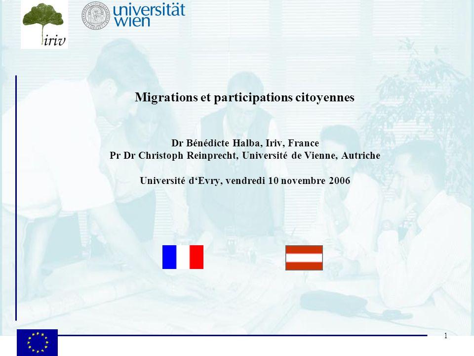 1 Migrations et participations citoyennes Dr Bénédicte Halba, Iriv, France Pr Dr Christoph Reinprecht, Université de Vienne, Autriche Université dEvry