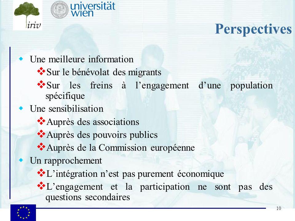 10 Perspectives Une meilleure information Sur le bénévolat des migrants Sur les freins à lengagement dune population spécifique Une sensibilisation Au
