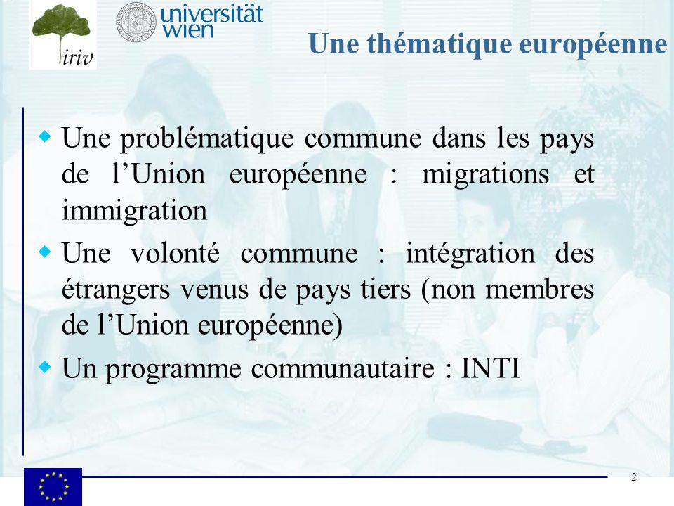 2 Une thématique européenne Une problématique commune dans les pays de lUnion européenne : migrations et immigration Une volonté commune : intégration