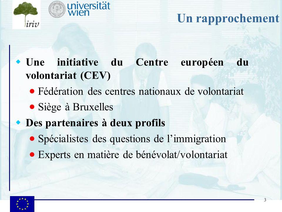 3 Un rapprochement Une initiative du Centre européen du volontariat (CEV) Fédération des centres nationaux de volontariat Siège à Bruxelles Des parten