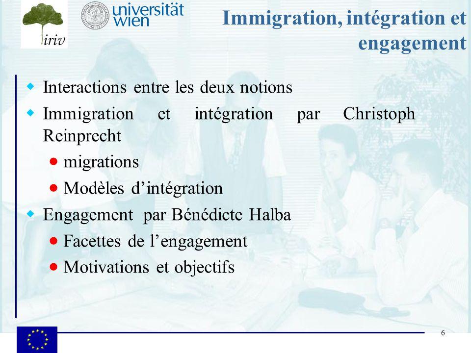 6 Immigration, intégration et engagement Interactions entre les deux notions Immigration et intégration par Christoph Reinprecht migrations Modèles di