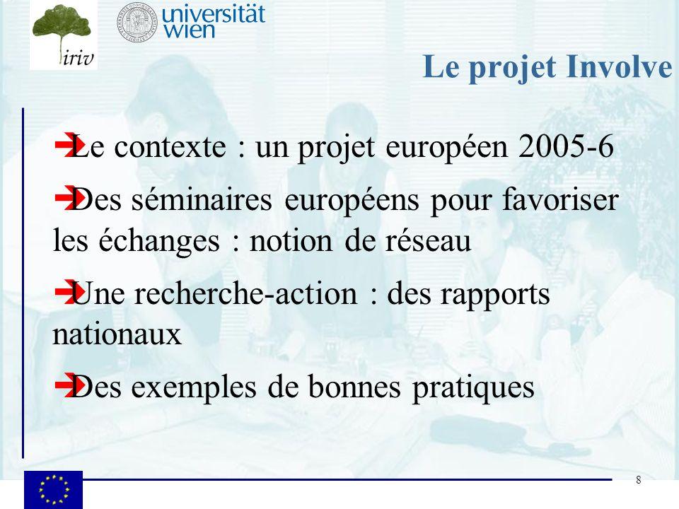 8 Le projet Involve Le contexte : un projet européen 2005-6 Des séminaires européens pour favoriser les échanges : notion de réseau Une recherche-acti