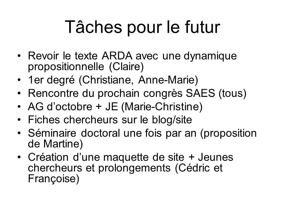 Tâches pour le futur Revoir le texte ARDA avec une dynamique propositionnelle (Claire) 1er degré (Christiane, Anne-Marie) Rencontre du prochain congrè