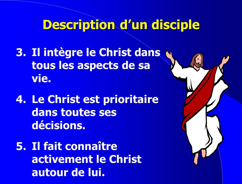 Description dun disciple 1. Il aime passionnément Jésus-Christ. 2.Il entretient quotidiennement par la prière son intimité avec lui.