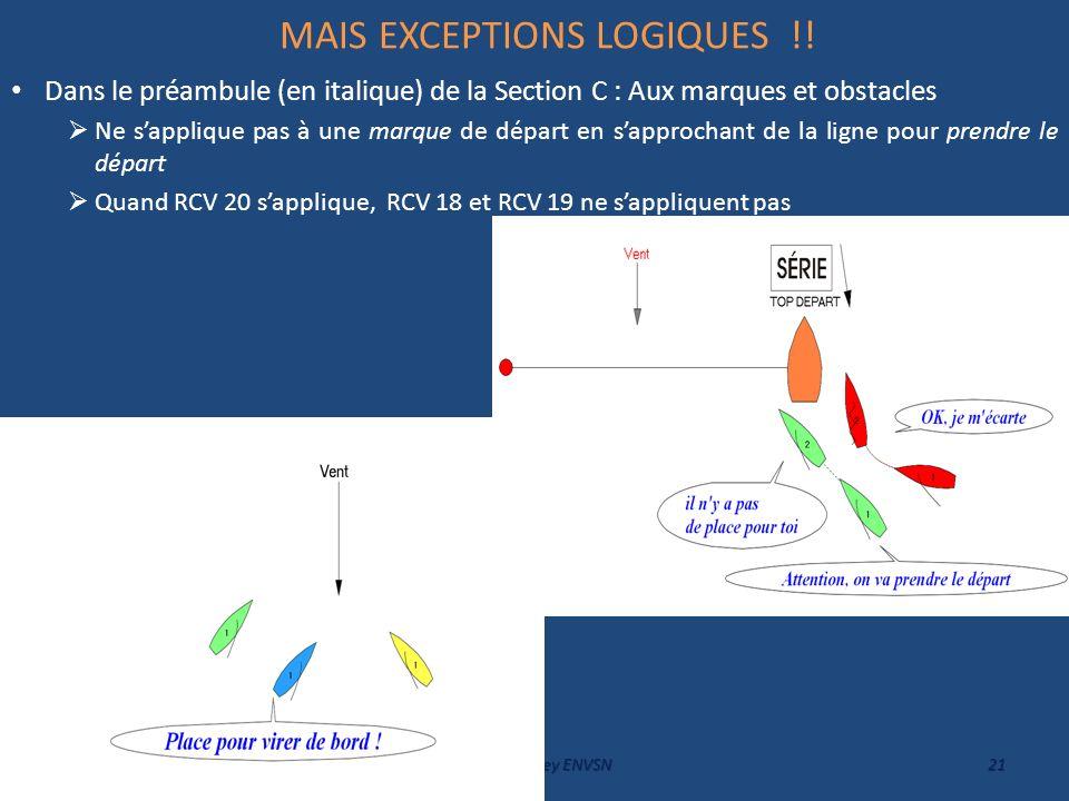 MAIS EXCEPTIONS LOGIQUES !! Dans le préambule (en italique) de la Section C : Aux marques et obstacles Ne sapplique pas à une marque de départ en sapp