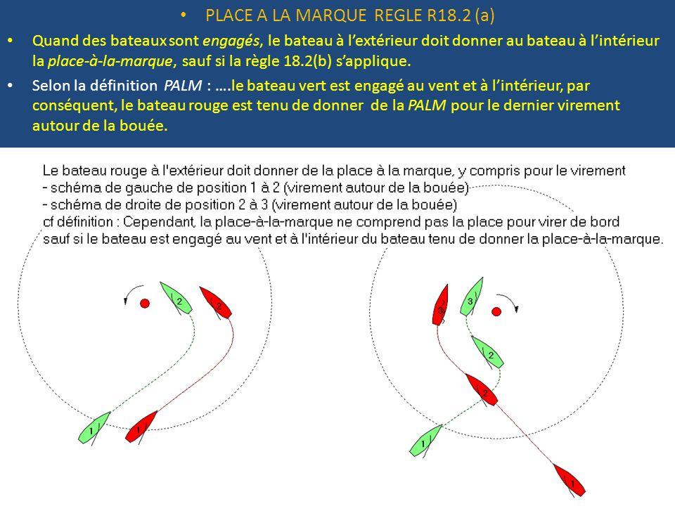 PLACE A LA MARQUE REGLE R18.2 (a) Quand des bateaux sont engagés, le bateau à lextérieur doit donner au bateau à lintérieur la place-à-la-marque, sauf