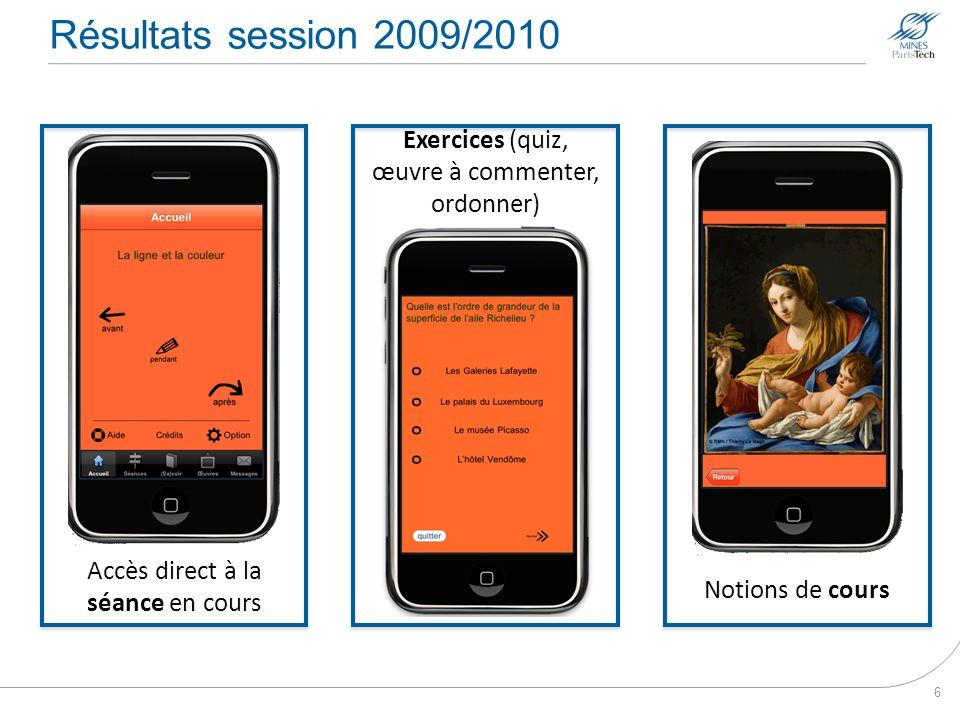 Résultats session 2009/2010 6 Accès direct à la séance en cours Notions de cours Exercices (quiz, œuvre à commenter, ordonner)