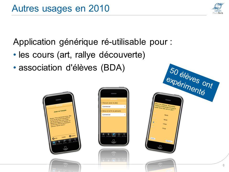 Autres usages en 2010 Application générique ré-utilisable pour : les cours (art, rallye découverte) association d'élèves (BDA) 8 50 élèves ont expérim