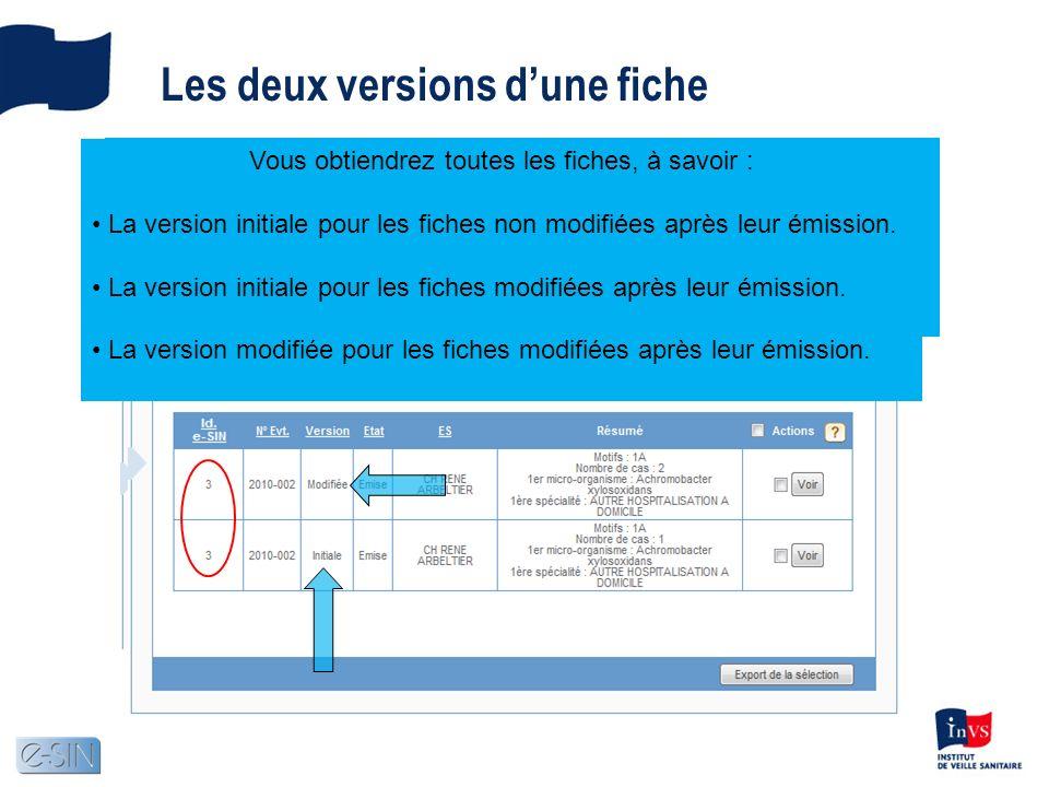 Les deux versions dune fiche Si vous recherchez sans cocher le critère Vous obtiendrez seulement les fiches de travail, à savoir : La version initiale pour les fiches non modifiées après leur émission.