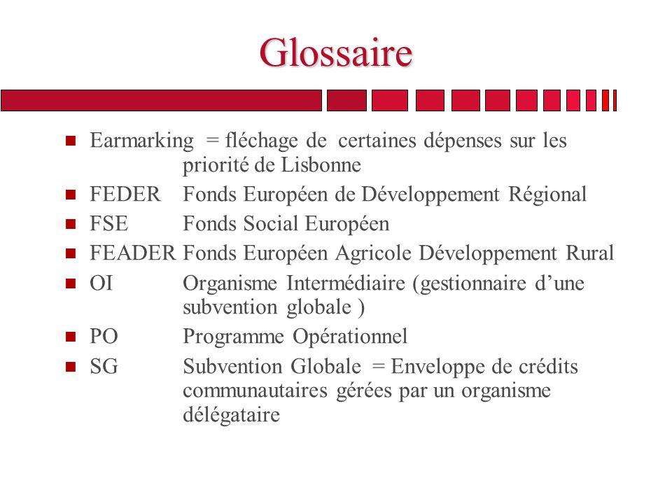 Glossaire n Earmarking = fléchage de certaines dépenses sur les priorité de Lisbonne n FEDER Fonds Européen de Développement Régional n FSE Fonds Social Européen n FEADER Fonds Européen Agricole Développement Rural n OI Organisme Intermédiaire (gestionnaire dune subvention globale ) n PO Programme Opérationnel n SG Subvention Globale = Enveloppe de crédits communautaires gérées par un organisme délégataire