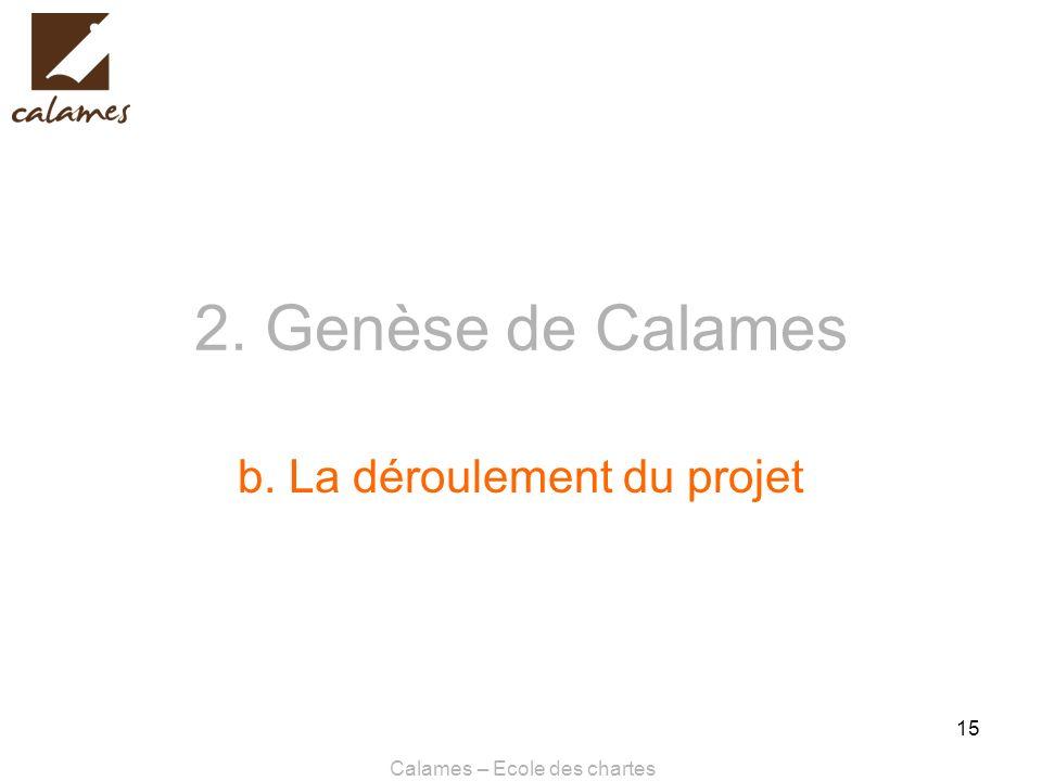 Calames – Ecole des chartes 15 2. Genèse de Calames b. La déroulement du projet
