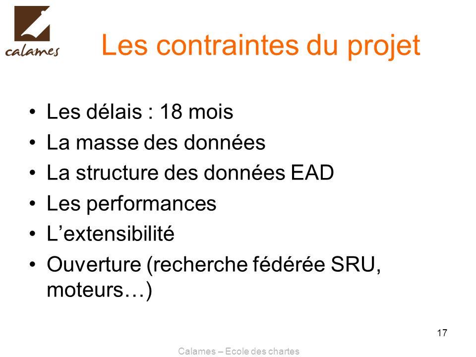 Calames – Ecole des chartes 17 Les contraintes du projet Les délais : 18 mois La masse des données La structure des données EAD Les performances Lexte