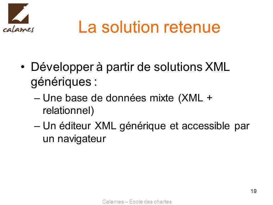 Calames – Ecole des chartes 19 La solution retenue Développer à partir de solutions XML génériques : –Une base de données mixte (XML + relationnel) –U