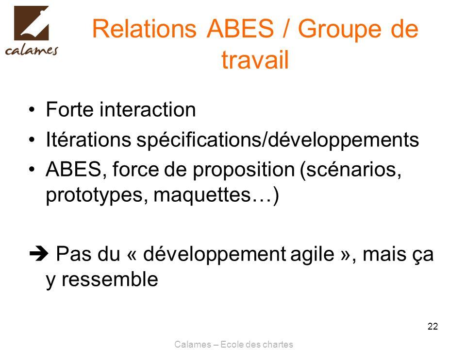 Calames – Ecole des chartes 22 Relations ABES / Groupe de travail Forte interaction Itérations spécifications/développements ABES, force de propositio