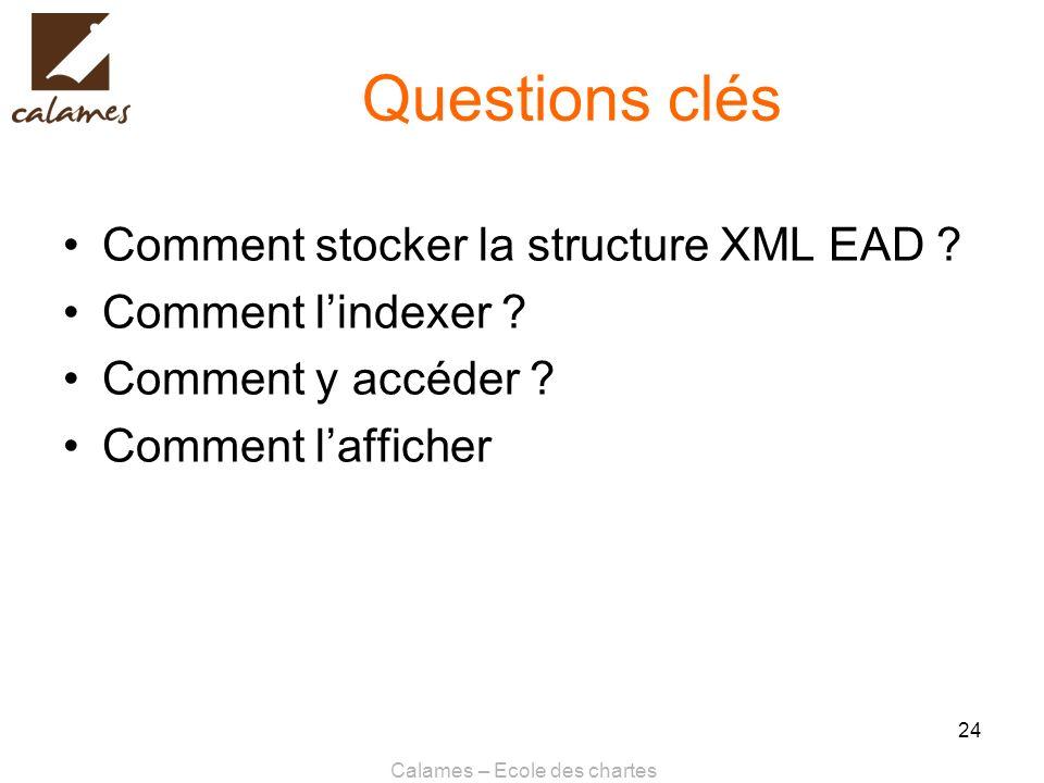 Calames – Ecole des chartes 24 Questions clés Comment stocker la structure XML EAD ? Comment lindexer ? Comment y accéder ? Comment lafficher
