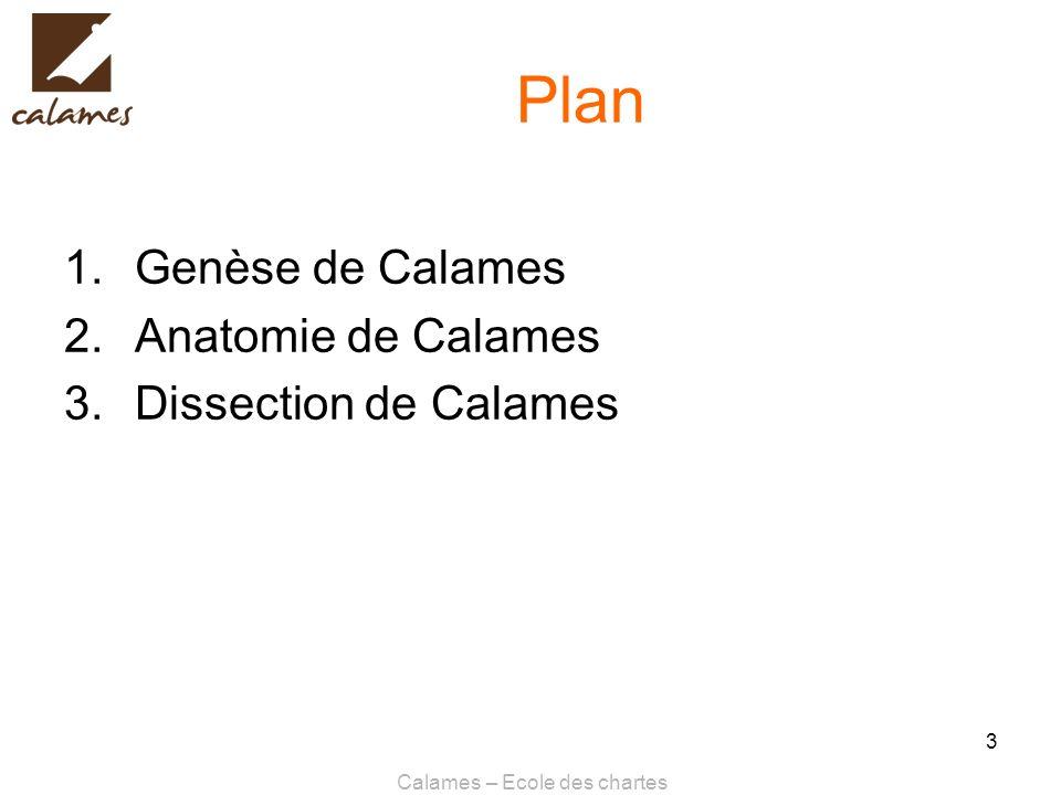 Calames – Ecole des chartes 3 Plan 1.Genèse de Calames 2.Anatomie de Calames 3.Dissection de Calames