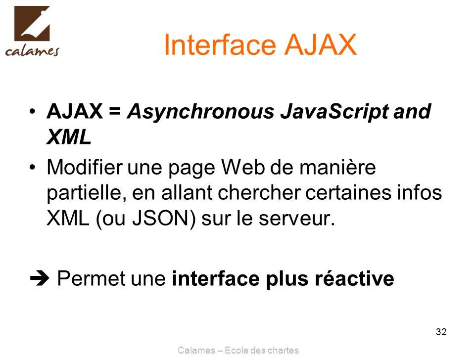 Calames – Ecole des chartes 32 Interface AJAX AJAX = Asynchronous JavaScript and XML Modifier une page Web de manière partielle, en allant chercher ce