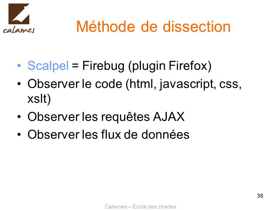 Calames – Ecole des chartes 36 Méthode de dissection Scalpel = Firebug (plugin Firefox) Observer le code (html, javascript, css, xslt) Observer les re