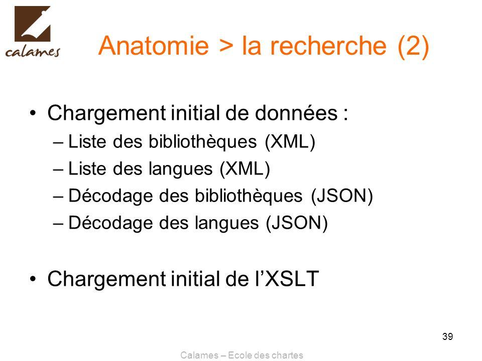 Calames – Ecole des chartes 39 Anatomie > la recherche (2) Chargement initial de données : –Liste des bibliothèques (XML) –Liste des langues (XML) –Dé