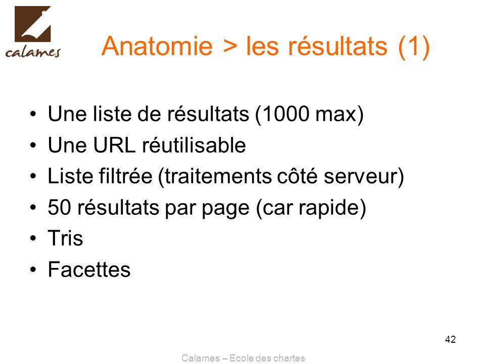 Calames – Ecole des chartes 42 Anatomie > les résultats (1) Une liste de résultats (1000 max) Une URL réutilisable Liste filtrée (traitements côté ser
