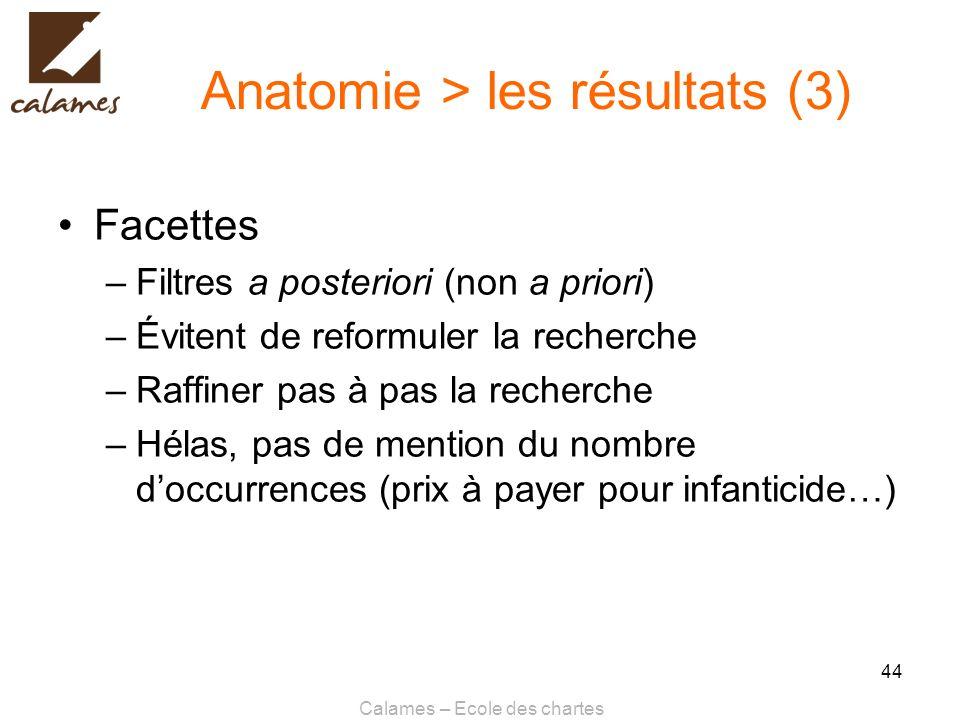 Calames – Ecole des chartes 44 Anatomie > les résultats (3) Facettes –Filtres a posteriori (non a priori) –Évitent de reformuler la recherche –Raffine