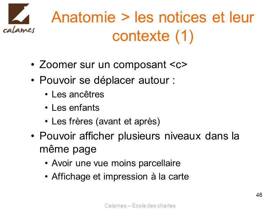 Calames – Ecole des chartes 46 Anatomie > les notices et leur contexte (1) Zoomer sur un composant Pouvoir se déplacer autour : Les ancêtres Les enfan