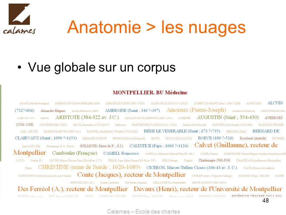 Calames – Ecole des chartes 48 Anatomie > les nuages Vue globale sur un corpus