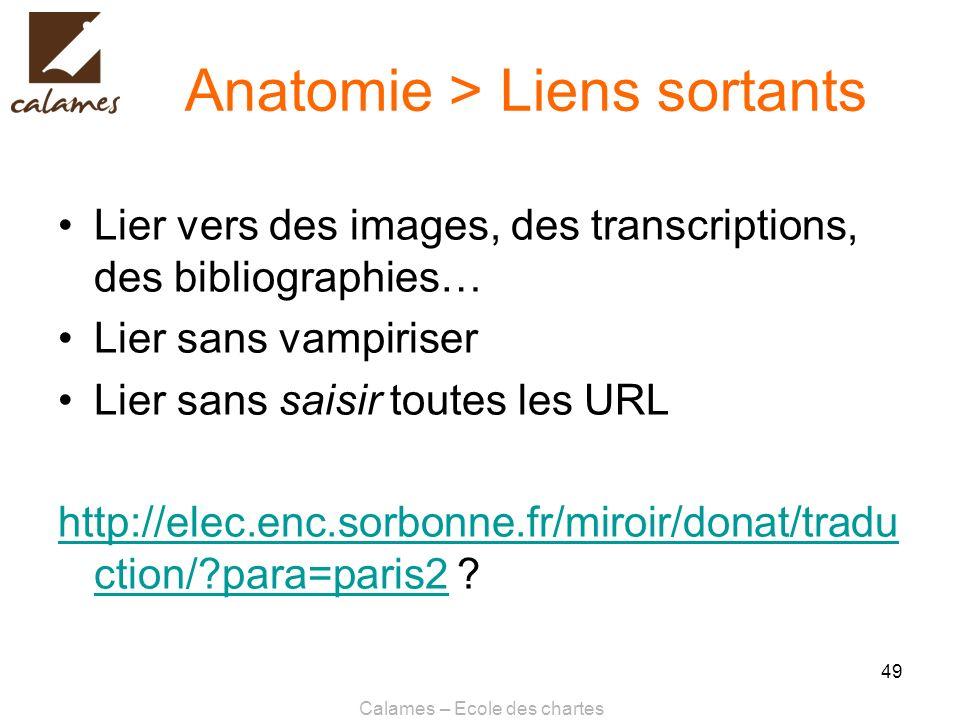 Calames – Ecole des chartes 49 Anatomie > Liens sortants Lier vers des images, des transcriptions, des bibliographies… Lier sans vampiriser Lier sans