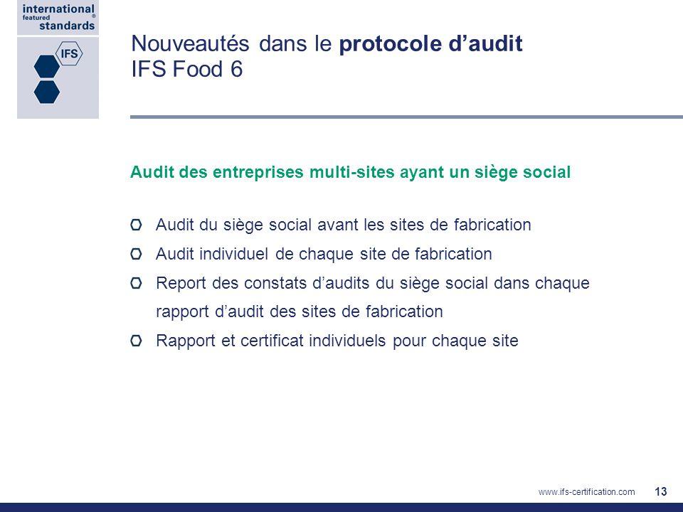 Audit des entreprises multi-sites ayant un siège social Audit du siège social avant les sites de fabrication Audit individuel de chaque site de fabric