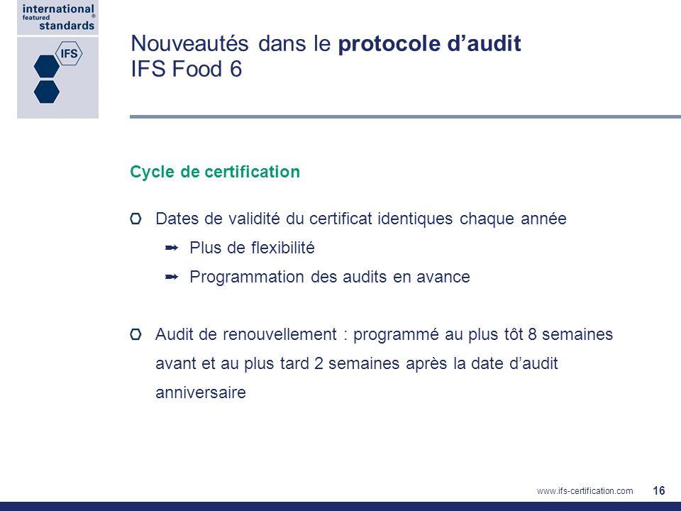 Nouveautés dans le protocole daudit IFS Food 6 Cycle de certification Dates de validité du certificat identiques chaque année Plus de flexibilité Prog