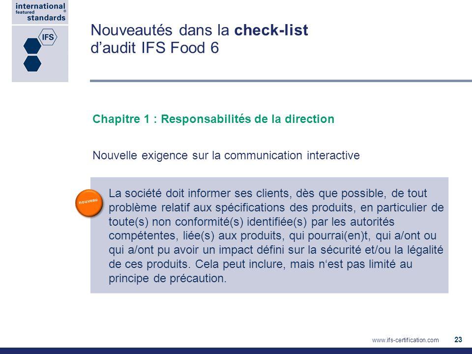Nouveautés dans la check-list daudit IFS Food 6 Chapitre 1 : Responsabilités de la direction Nouvelle exigence sur la communication interactive La soc