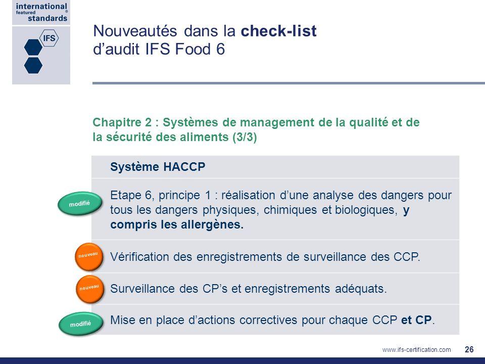 Nouveautés dans la check-list daudit IFS Food 6 Chapitre 2 : Systèmes de management de la qualité et de la sécurité des aliments (3/3) 26 Système HACC