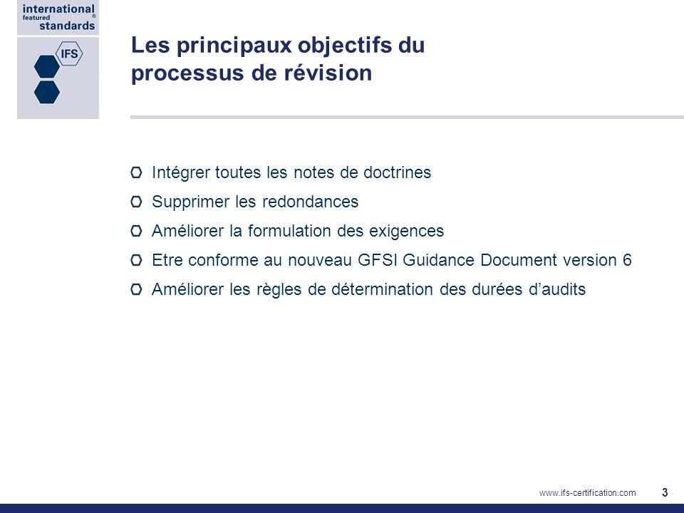 Intégrer toutes les notes de doctrines Supprimer les redondances Améliorer la formulation des exigences Etre conforme au nouveau GFSI Guidance Documen