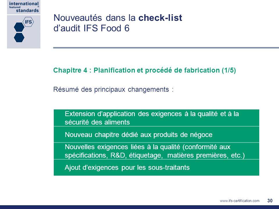 Nouveautés dans la check-list daudit IFS Food 6 Chapitre 4 : Planification et procédé de fabrication (1/5) Résumé des principaux changements : Extensi