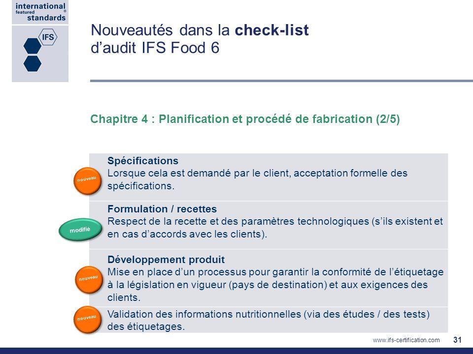 Nouveautés dans la check-list daudit IFS Food 6 31 Spécifications Lorsque cela est demandé par le client, acceptation formelle des spécifications. For