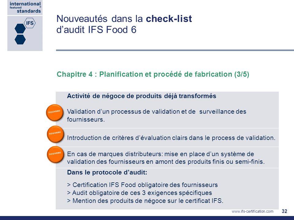 Nouveautés dans la check-list daudit IFS Food 6 32 Chapitre 4 : Planification et procédé de fabrication (3/5) Activité de négoce de produits déjà tran