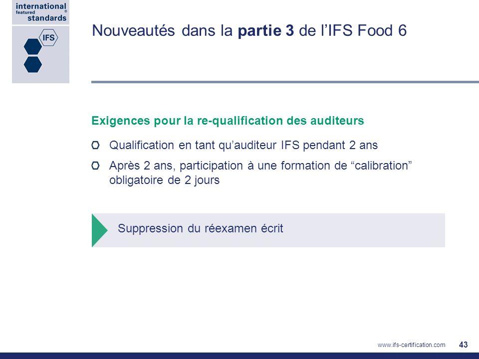 Nouveautés dans la partie 3 de lIFS Food 6 Exigences pour la re-qualification des auditeurs Qualification en tant quauditeur IFS pendant 2 ans Après 2