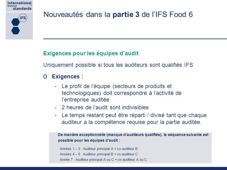 Nouveautés dans la partie 3 de lIFS Food 6 Exigences pour les équipes daudit Uniquement possible si tous les auditeurs sont qualifiés IFS Exigences :