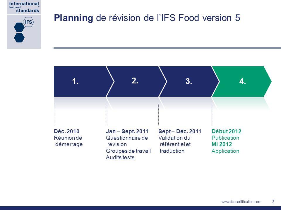 Nouveautés dans lIFS Food 6 Integrity Program : Les audits réalisés Audits IFS réalisés au nom de lIFS, en tant que mesure préventive : Audits de surveillance, sur la base de lanalyse des données disponibles sur le portail IFS -Audits au niveau du siège de lOC (organisme de certification) -Observations daudits -Audits sur site de fournisseurs Audits IFS réalisés suite à une réclamation : Audits au niveau du siège de lOC Observations daudits Audits sur site de fournisseurs Des auditeurs spécifiques et indépendants ont été formés et qualifiés Par lIFS pour réaliser ces audits
