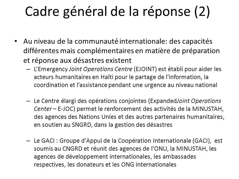 Cadre général de la réponse (2) Au niveau de la communauté internationale: des capacités différentes mais complémentaires en matière de préparation et