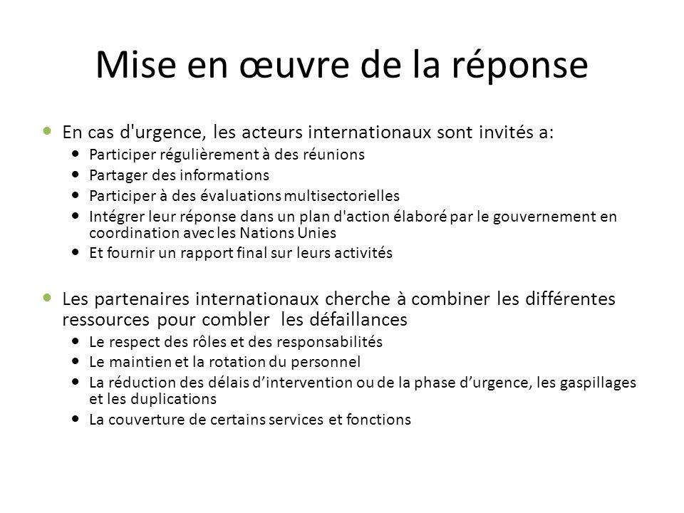 Mise en œuvre de la réponse En cas d'urgence, les acteurs internationaux sont invités a: Participer régulièrement à des réunions Partager des informat