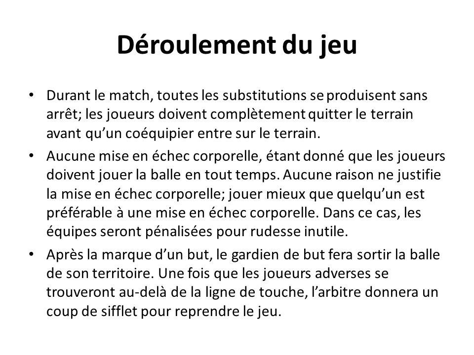 Déroulement du jeu Durant le match, toutes les substitutions se produisent sans arrêt; les joueurs doivent complètement quitter le terrain avant quun