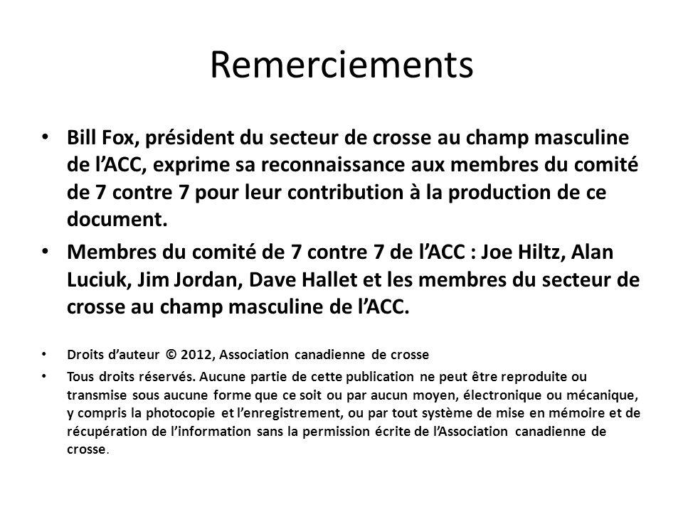 Remerciements Bill Fox, président du secteur de crosse au champ masculine de lACC, exprime sa reconnaissance aux membres du comité de 7 contre 7 pour