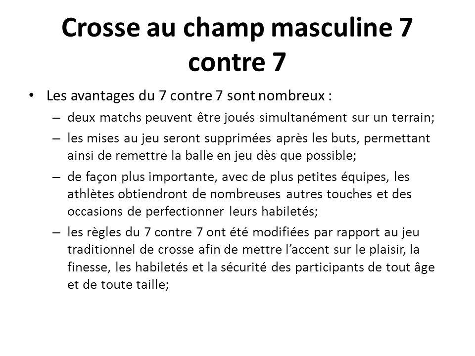 Crosse au champ masculine 7 contre 7 Les avantages du 7 contre 7 sont nombreux : – deux matchs peuvent être joués simultanément sur un terrain; – les