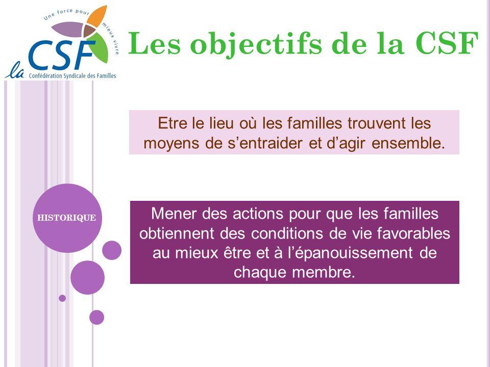 Les objectifs de la CSF Mener des actions pour que les familles obtiennent des conditions de vie favorables au mieux être et à lépanouissement de chaq